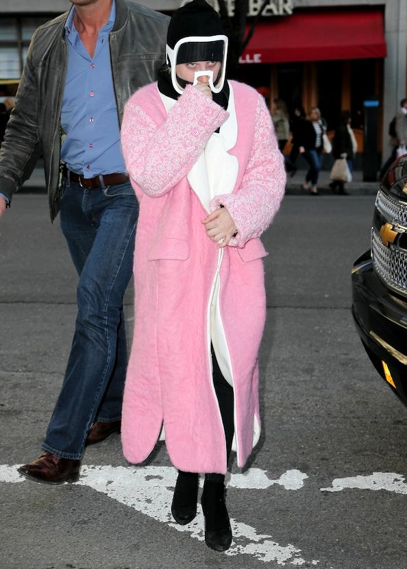 Lady Gaga spotted wearing a pink coat while arriving at The Yoga Spot in New York City