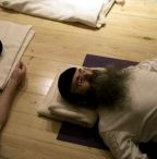 Ultra-Orthodox Jewish men take part in a yoga class at a studio near Jerusalem