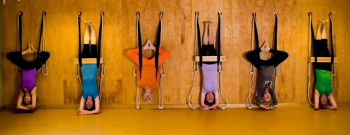Headstand at the rope wall via Iyengar Yoga Canada