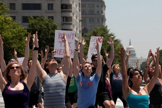 Yoga Tax protesters in Washington. | Lance Rosenfield/Prime