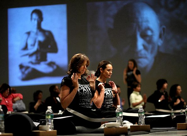 Donna Karan and Sonja Nuttall, co-founders of the Urban Zen Foundation, introduce yoga program to officials of Beth Israel Medical Center