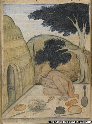 Garbhasana, a watercolour from 1600, depicts a yogi in practice
