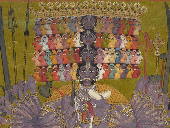 Krishna Vishvarupa. India, Bilaspur. ca. 1740. Catherine and Ralph Benkaim Collection.